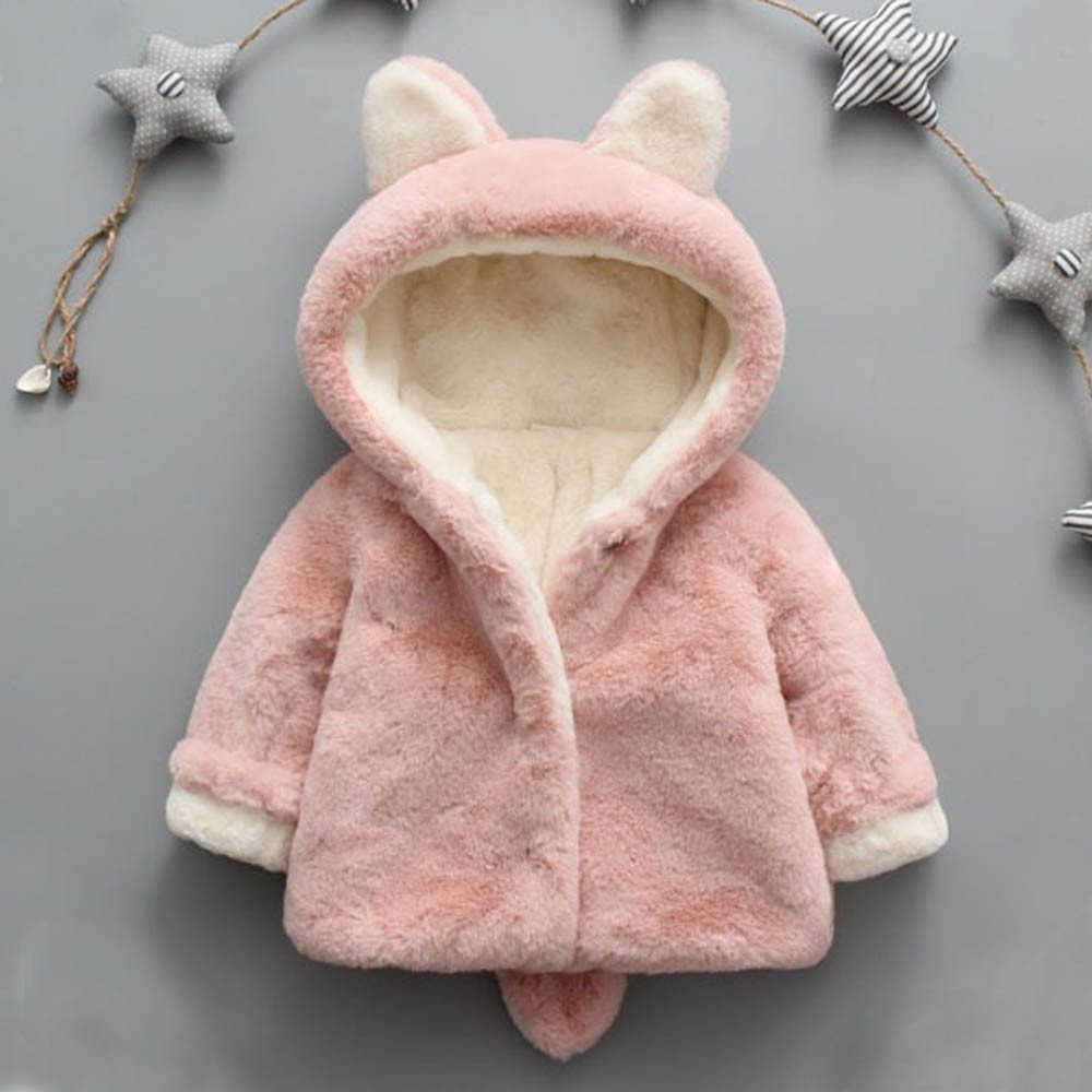 Infant Toddler Baby Girl Winter Warm Rabbit Ears Hoodies Fur Coat Thick Outerwear Snowsuit Jackets(Pink,13/110) by yijiamaoyiyouxia accessory (Image #4)