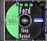 1959 Ford CD Repair Shop Manual for all cars, retractable, & Ranchero