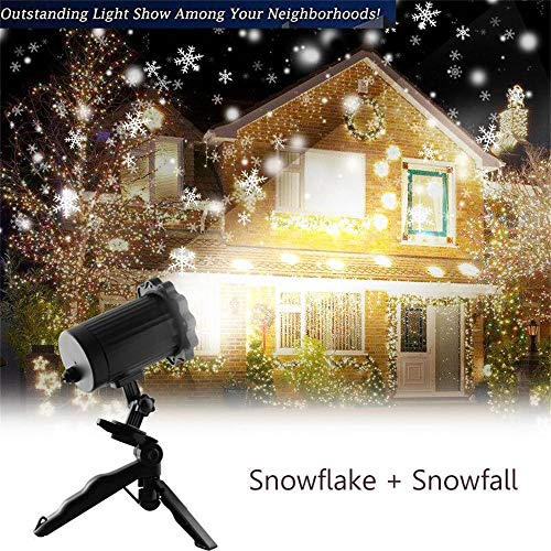 Outdoor Holiday Light Display - Christmas Projector Light, KMASHI Snowflake Projector Light Snowfall Light Fairy Light Show Waterproof Rotating Spotlight Projection for Christmas Halloween Party Wedding Outdoor Garden Decorations