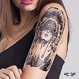"Tatouage Temporaire ""B&W Amer Indian Girl 2"" - ArtWear Tattoo Women - B0120 M"