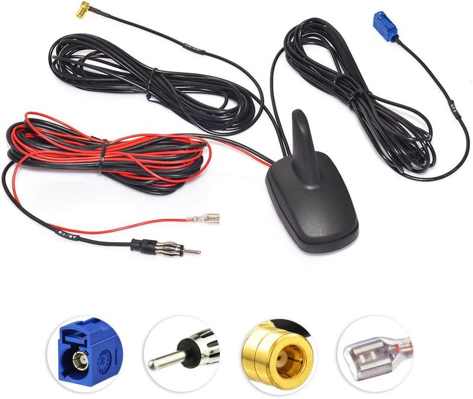 Eightwood Dab Gps Antena Automóvil Fakra C A Din A Smb Radio Para Dab Divisor Aleta Para Techo De Tiburón Cable De Extensión Rg174 5m Señal Amplificador Antena Coche Para Radio Am Fm