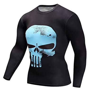 4fd49e4ad96c Findci Men Short Long Sleeve Sports Fitness Tops Punisher Skull 3D Printing  Compression Tight T Shirts