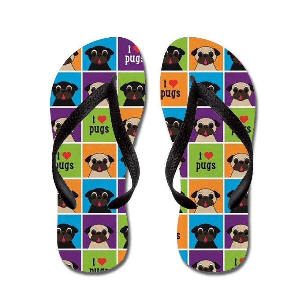 CafePress I Love Pugs Sm Color Squares - Flip Flops, Funny Thong Sandals, Beach Sandals by CafePress (Image #1)