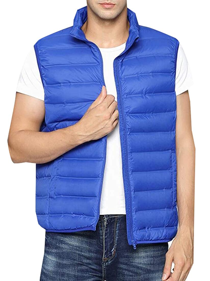 ainr Mens Fashion Down Vest Outwear Packable Stand Collar Down Puffer Vest
