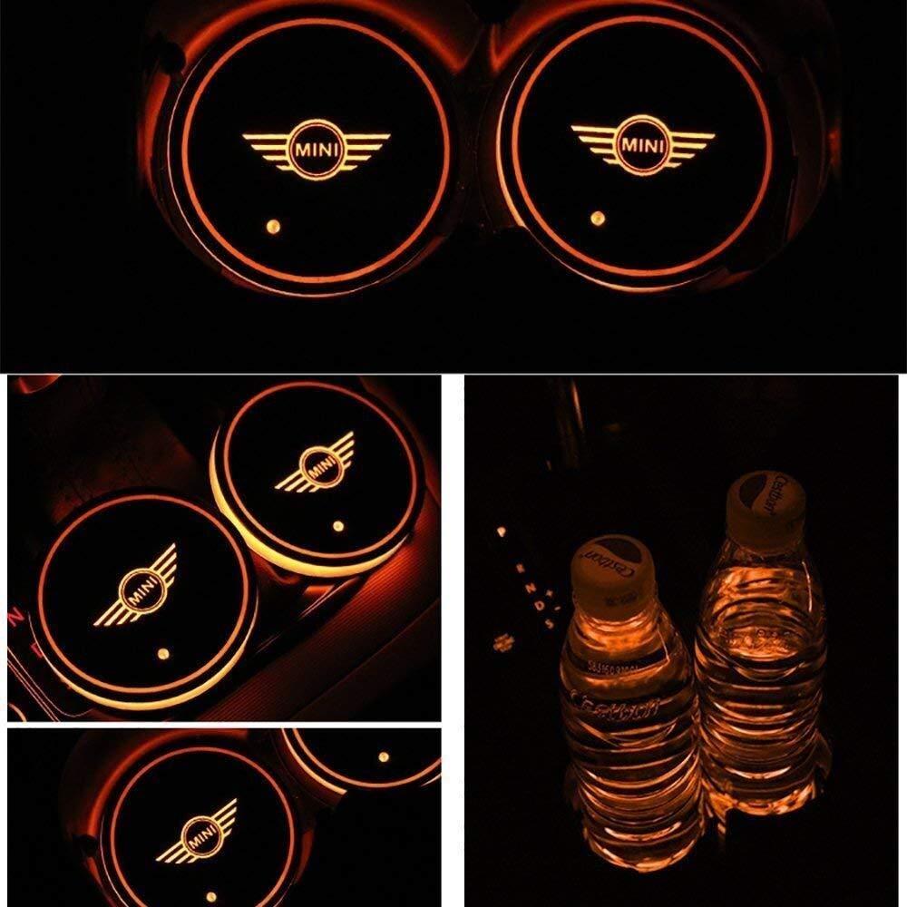 Mmhot-ct Schaltbare 7 Farben led innen atmosph/äre Lampe mit USB Lade Matte leuchtende Tasse pad 2 st/ücke led Auto Tasse Dekoration Lichter fit for Mini