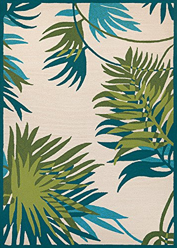 Couristan Covington Collection Jungle Leaves Rug, 2 by 3-Feet, Ivory/Forest (Covington Collection)