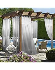 Wilike 2 Pieces Ombre Sheer Outdoor Curtains Grommet Top Semi Waterproof Sheer Curtains for Porch Patio Pergole Gazebo,Gradient Voile Drapes for Bedroom Living Room