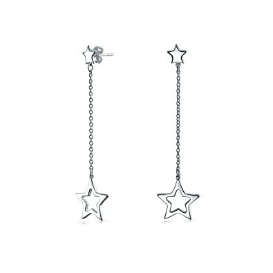 d5ab41f2a Amazon.com: Celestial Patriotic USA Rock Star Chain Long Linear Dangle  Earrings For Women Girlfriend Teen 925 Sterling Silver 1.9 In: Jewelry