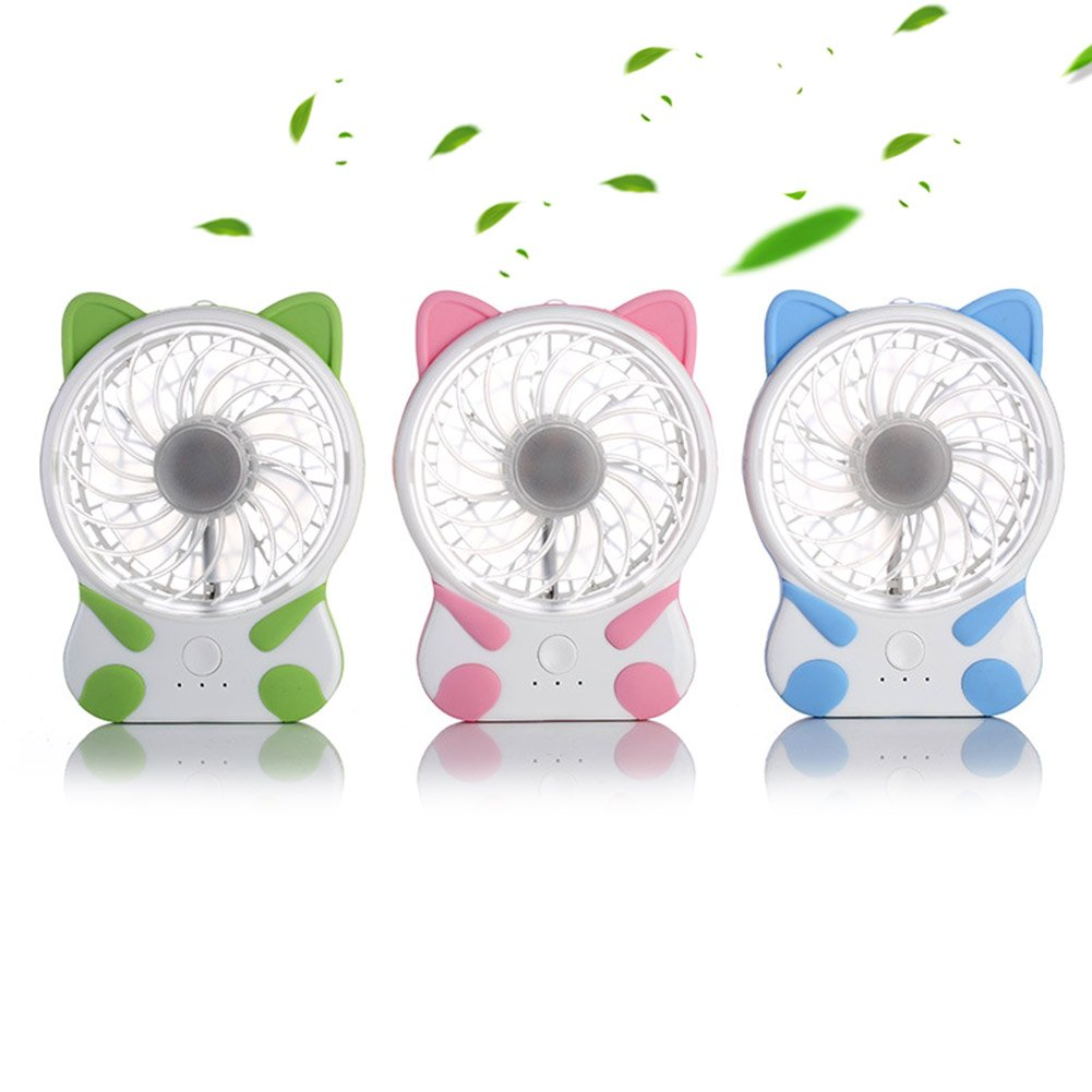 Micro USB Charge for Home Office Travel Outdoor Portable Table Fans 3 Speed Adjustable Small Portability Cooler-Mini Desk Fan Lovely Cat Shape Rechargeable Fans -Pink