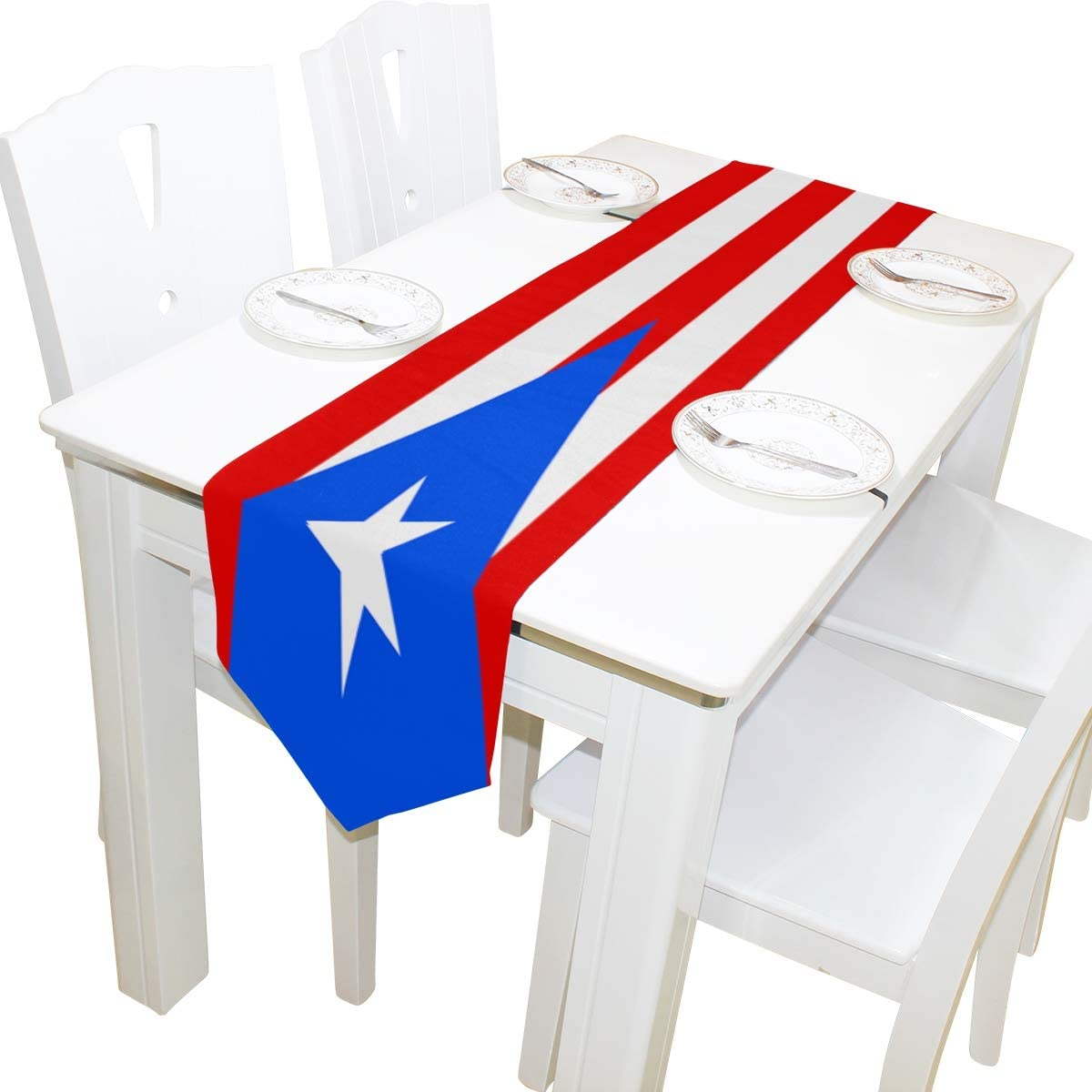 poeticcity Puerto Rico Flag Double Sided Oblong 13 X 90 inches Table Runner for Wedding Dining Room Kitchen Table Cloth Home Decor