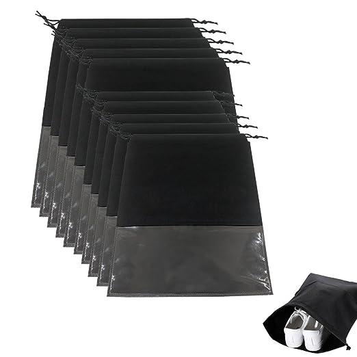 YeeStone 10 Stück Schuhtasche mit Zugband/Transparente Fenster, Schuhbeutel Sporttaschen