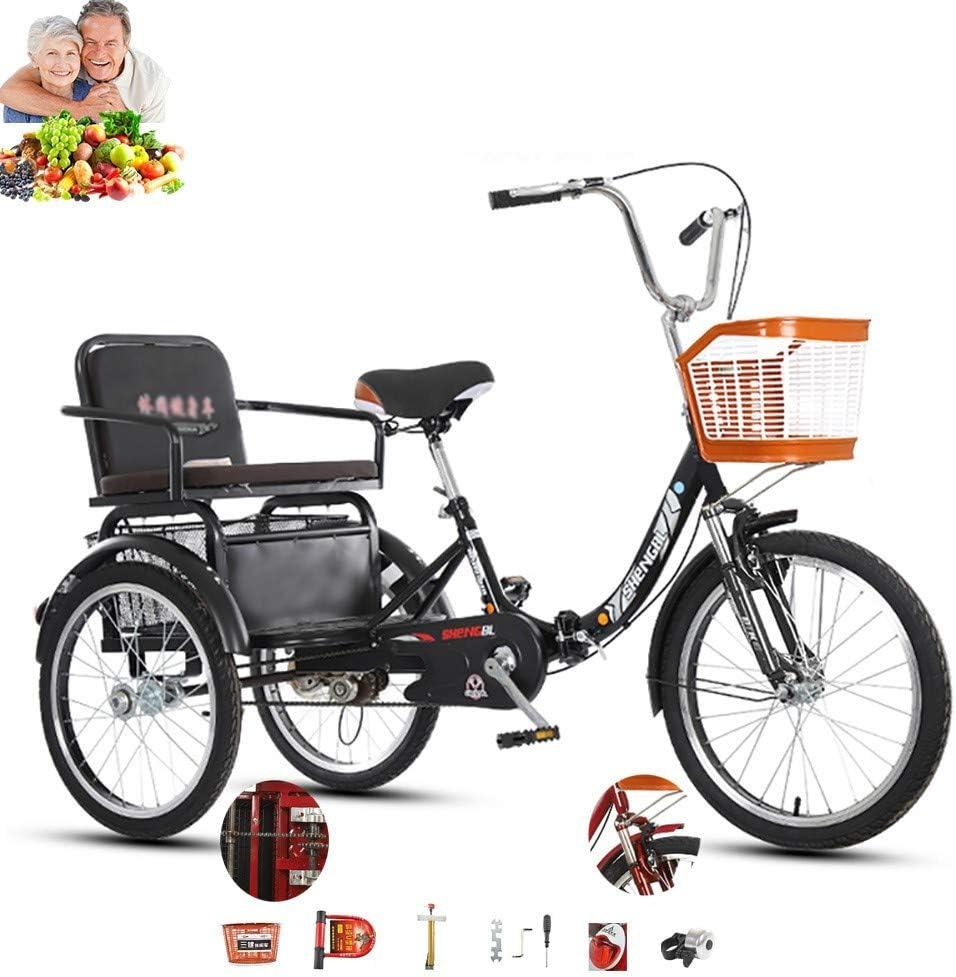 Tricycle Adulto 3 Bicicletas de Ruedas de Edad 20 Pulgadas cómoda Bicicleta con Asiento Trasero + Cesta Vegetal Doble Cadena hidráulica de absorción de Impactos Movilidad Triciclo para los Padres