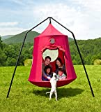 Family HugglePod HangOut Outdoor Hanging Tree Tent Playhouse with Interior LED Lights and HangOut Stand Special, Stand Measures 8.75' x 8.75' x 8'H - Red