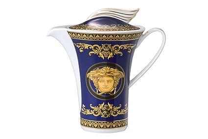 Versace Medusa Cafetera, Porcelana, Azul, 27.5x23.5x13 cm