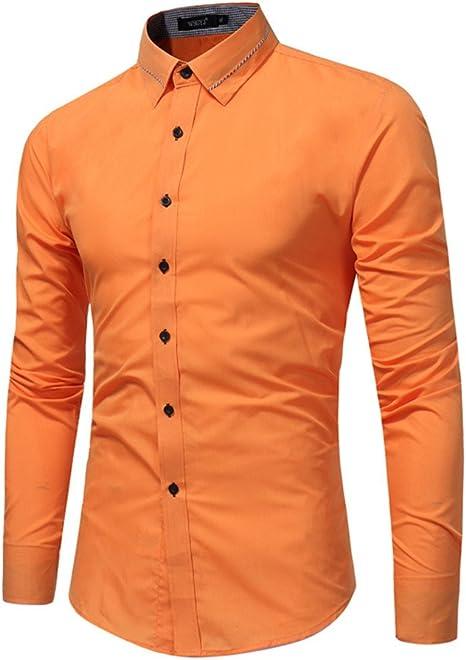 nvunskd Camisa de Manga Larga para Hombre de Negocios Camisa Color Todo Partido Casual Camisa,Naranja - Rojo,XL: Amazon.es: Deportes y aire libre