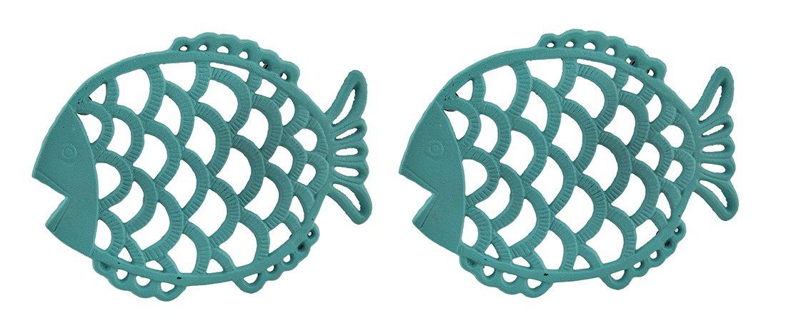 2 Piece Tropical Turquoise Blue Cast Iron Filigree Fish Decorative Trivet Set