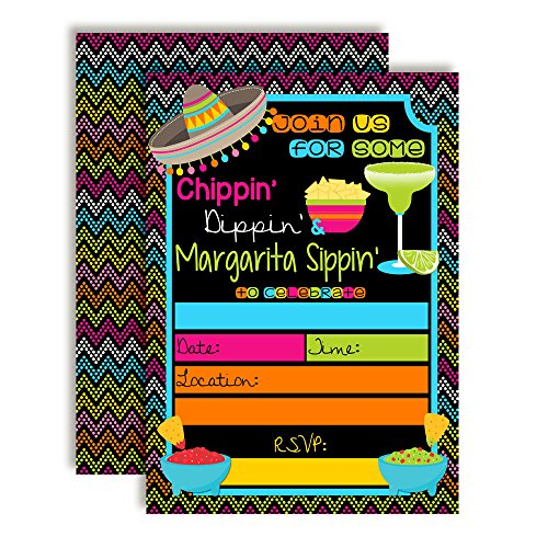 Chips, Dips, and Margarita Sips Birthday Party Invitations, 20 5