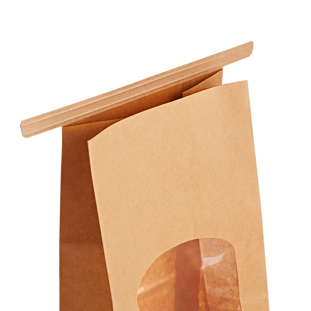 ae2ea424b8 Amazon.com: Halulu Bakery Bags Paper Treat Bags Resealable Kraft Paper Bags  Cookie Popcorn Bags with Windows, 4.5x2.36x9.6