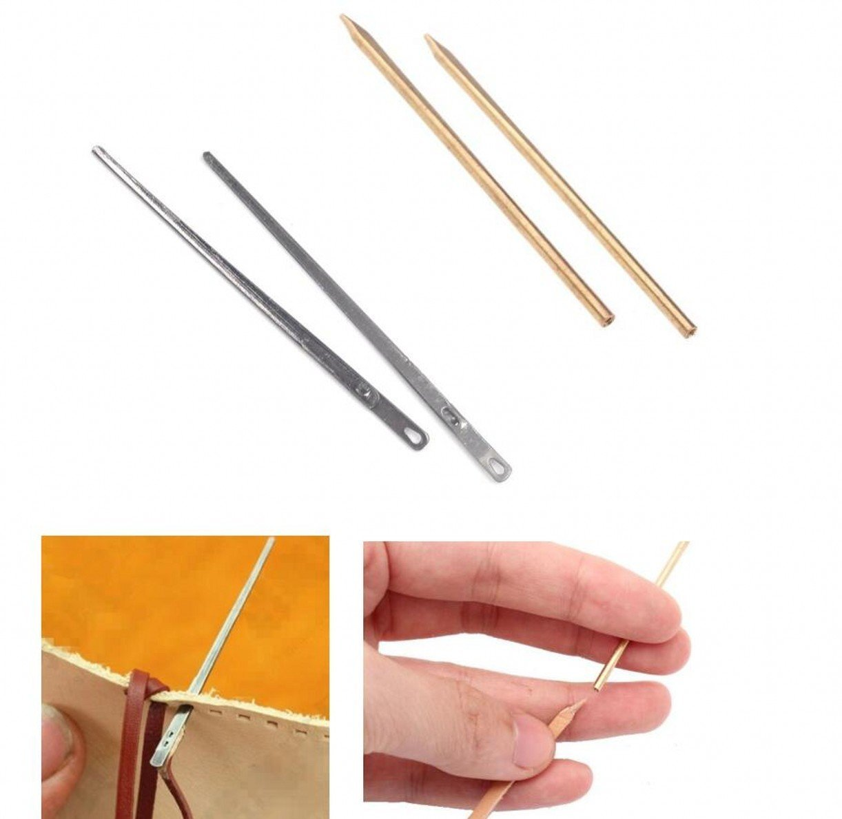 ZHONGJIUYUAN 4 Piece Leather Needle Kit Leather 2-Prong Lacing Needle and Brass Round Oblate Head Threaded Lacing Needle, Stitching Needles