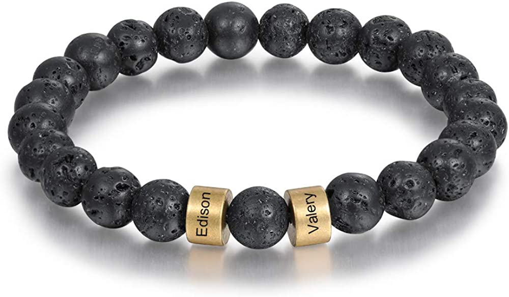 Lam Hub Fong Personalized Beads Bracelets for Men Chakra Stone Bracelets Custom Initial Name Bracelet Mens Malachite Tiger Eye Lava Stone Bracelet Beads