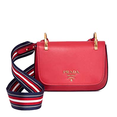 9762267ff782 Image Unavailable. Image not available for. Color: Prada Leather Shoulder  Bag- Red