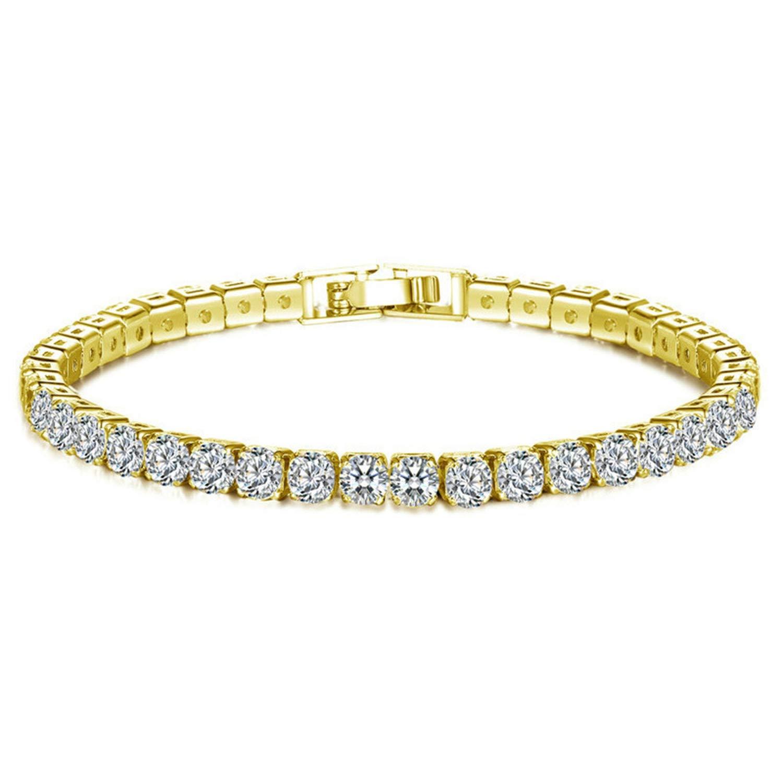 Henraly Hip Hop Men Women Bracelet Series Rhinestone Bracelet Chain Bling Crystal Bracelet Silver Gold Colors