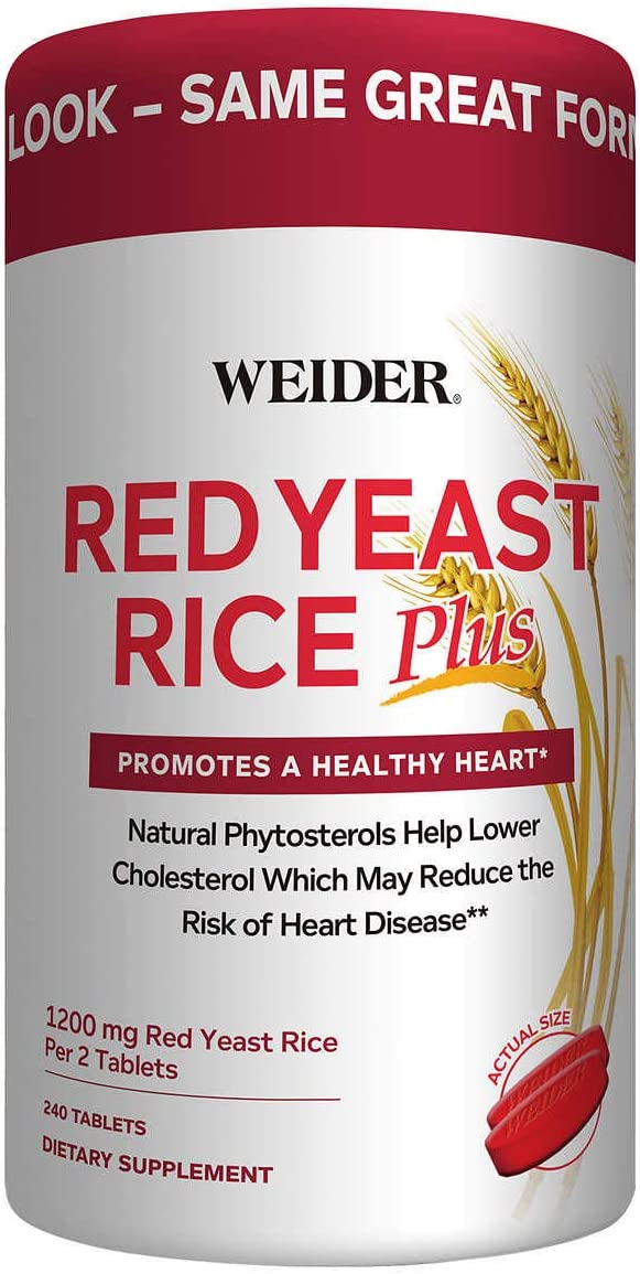 Weider Red Yeast Rice Plus 2-Pack with Phytosterols 1200 mg per 2 Tablets (240 Tablets X 2)