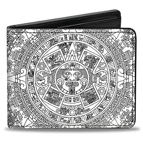 Bi-Fold Wallet - Aztec Calendar White Black ()