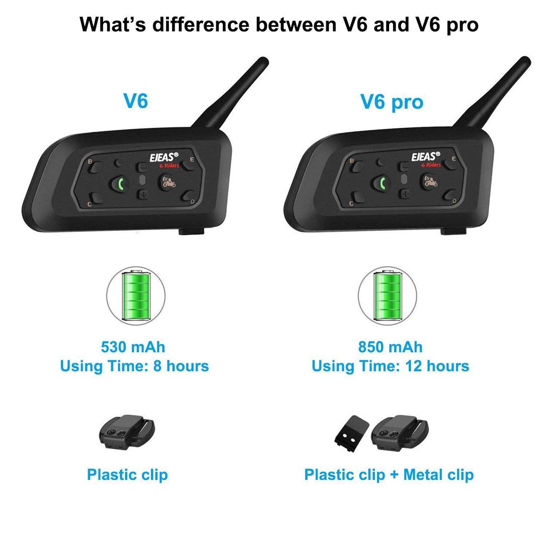 EJEAS V6 Pro Interfono Moto 1200M BT Citofono Auricolare Bluetooth per Moto Fino a 6 Riders Comunicazione Bluetooth per Casco Moto con Cancellazione del Rumore 2 Pezzo