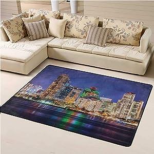 Area Rug USA, Colorful Skyline of San Diego Super Cozy Bathroom Rug Carpet Decorative Footcloth/Floor Cover/Play Mat 5 x 8 Feet