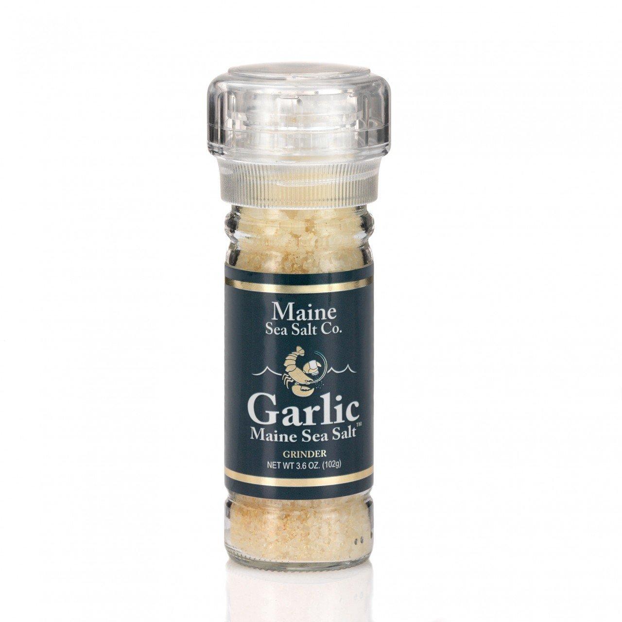 Maine Sea Salt - Garlic Sea Salt and Grinder - 3.6 Ounce