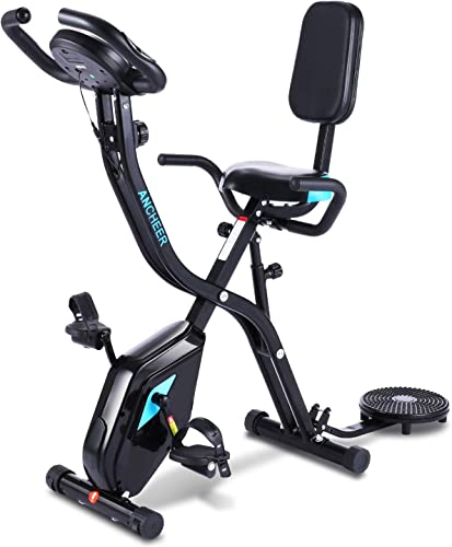 ANCHEER Exercise Slim Folding Bike,3 in1 Stationary Cycle Indoor Recumbent Bike,Compact Magnetic Upright for Home with App Program Twister Plate 10 Level Adjustable Resistance Monitor. Pure Black