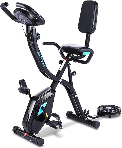 Ancheer F-Bike, bicicleta de bicicleta, bicicleta estática, bicicleta de fitness plegable con ordenador de entrenamiento, sensores de pulso de mano y 10 niveles de resistencia, plegable: Amazon.es: Deportes y aire libre