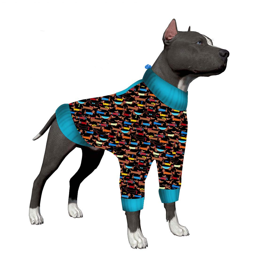 LovinPet Big Dog Pajamas, Colorful Dachshund Cozy Dog Pajamas, Slim fit, Lightweight Pullover Pajamas/Full Coverage Dog pjs/Please Reese Size Chart Before Ordering