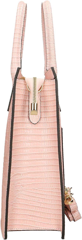 Chicca Borse Bolso de mano en piel genuina made in Italy - 28x30x10 Cm Rosa Baby i8MGFSFL