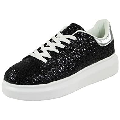 1b37edb8703 New Ladies Glitter Running Trainers Womens Lace Up Fitness Gym Sports Shoes Size  3  Amazon.co.uk  Shoes   Bags