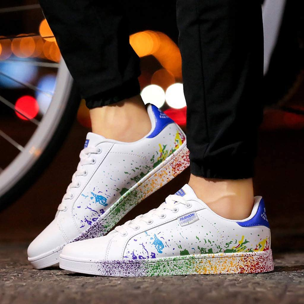 Naladoo Womens Colorful White Shoes Mens Sport Skateboard Shoes Flat Sneakers