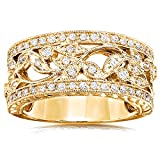 Vintage Style Diamond Fashion Floral Band 1/4 CTW in 14K Yellow Gold