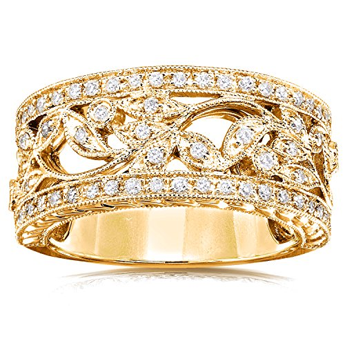 Vintage Style Diamond Fashion Floral Band 1/4 CTW in 14K Yellow Gold, Size 8.5, Yellow Gold