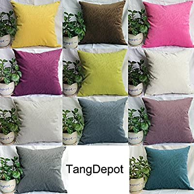 TangDepot Solid Velvet Decorative Pillow Covers/Euro Pillow shams, Super Soft Velour, Micro embossed Leaf texture and shape, 10 sizes & 11 colors options, Blue, Blue Black, Charcoal Black, Coffee, Hot Pink, Light Green, Light Purples, Silver Gray, White,