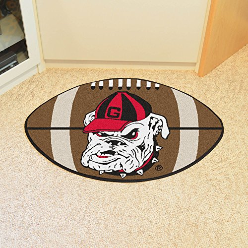 FANMAT 4951 FanMat Georgia Bulldogs Football Shaped Rug, 22