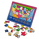 Joqutoys 21 Pieces USA Map Puzzle Educational Wooden Geography Jigsaw Puzzle Toys Children