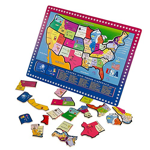 Joqutoys 21 Pieces USA Map Puzzle Educational Wooden Geography Jigsaw Puzzle Toys for Children