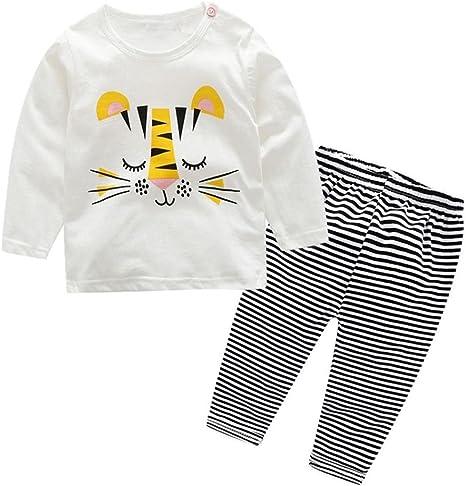 Newborn Baby Boys Girls 3-24 Months Animals Clothes 2Pcs Long Sleeve T-Shirt+Pants Outfits Set