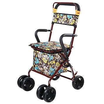 GFYWZ Ayuda para Caminar Caminante El Tráfico De Ancianos Ayuda Cinturón con Asiento Plegable Abarroter Multifuncional para Ancianos Compras Carro para ...