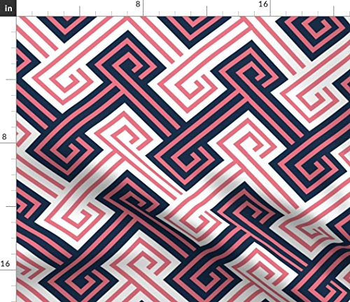 Spoonflower Navy and Pink Fabric - Navy and Coral Greek Key Classic Modern Preppy Print on Fabric by The Yard - Denim for Sewing Bottomweight Apparel Home Decor Upholstery (Preppy Denim)