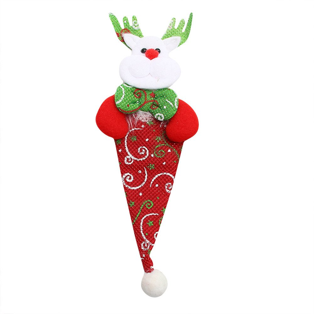 Christmas Decoration Santa Decor Knifes Forks Bag, Kitchen Suit Silverware Holders Pockets Cutlery Set Santa Snowman Elk Xmas Character for Xmas Holiday Party Christmas Party (Multicolour D)