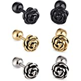 Cottvott Flowers Surgical Steel Earrings Studs for Womens Gold Black