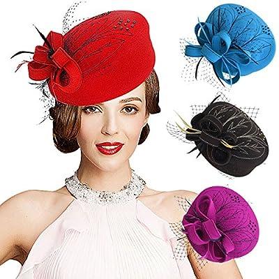 Lawliet Embroidered Women Veil Formal Cocktail Race Felt Wool Pill Box Hat A140