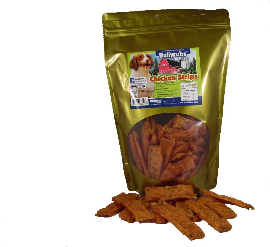 Bellyrubs Chicken Strips for Small to Large Dogs Real Chicken Jerky Sticks All-Natural Gluten Grain Free Chicken Jerky Treats High Protein Dog Training Chews Made in USA